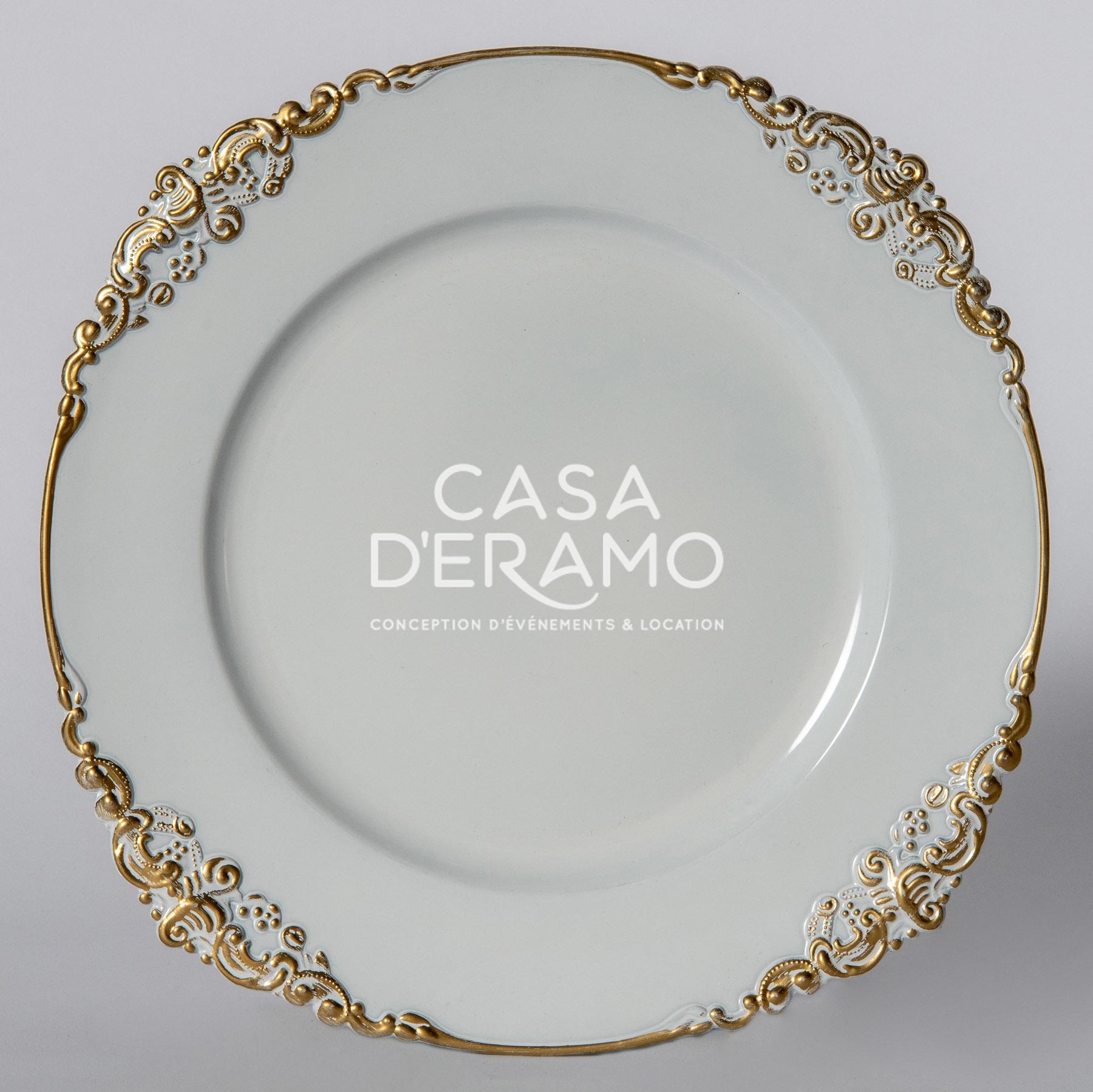 White Vintage Charger Plate With Gold Rim Casa D Eramo
